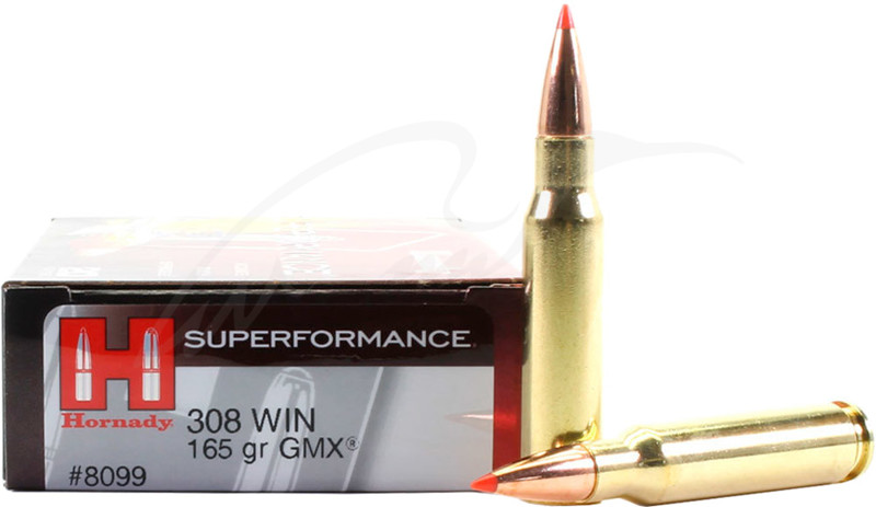 Патрон Hornady Superformance кал .308 Win пуля GMX масса 165 гр (10.7 г)