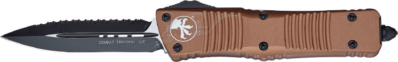 Нож Microtech Combat Troodon Double Edge Black Blade. Цвет: tan