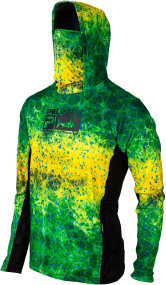 Реглан Pelagic Exo-Tech Hooded Fishing Shirt XXL ц:green dorado hex