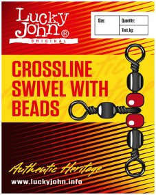 Вертлюжок Lucky John Crosline Swivel With Beads №12 12кг (10шт/уп)