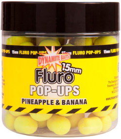 Бойлы Dynamite Baits Fluro Pop-Ups Pineapple & Banana 15mm