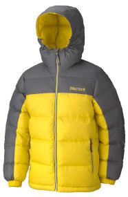 Куртка MARMOT Boys Guides Down Hoody ц:acid yellow-cinder