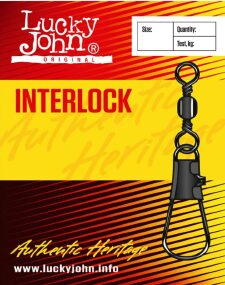 Вертлюжок с застежкой Lucky John Interlock №1 52кг (10шт/уп)