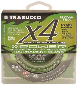 Шнур Trabucco Dyna-Tex 4X Power 150m (lime yellow) #1.0/0.165mm 18lb/8.16kg
