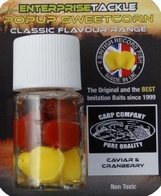 Искусственная насадка Enterprise tackle Classic Popup Sweetcorn Caviar & Cranberry Yellow & Icelandic Red Colour (Carp Company)
